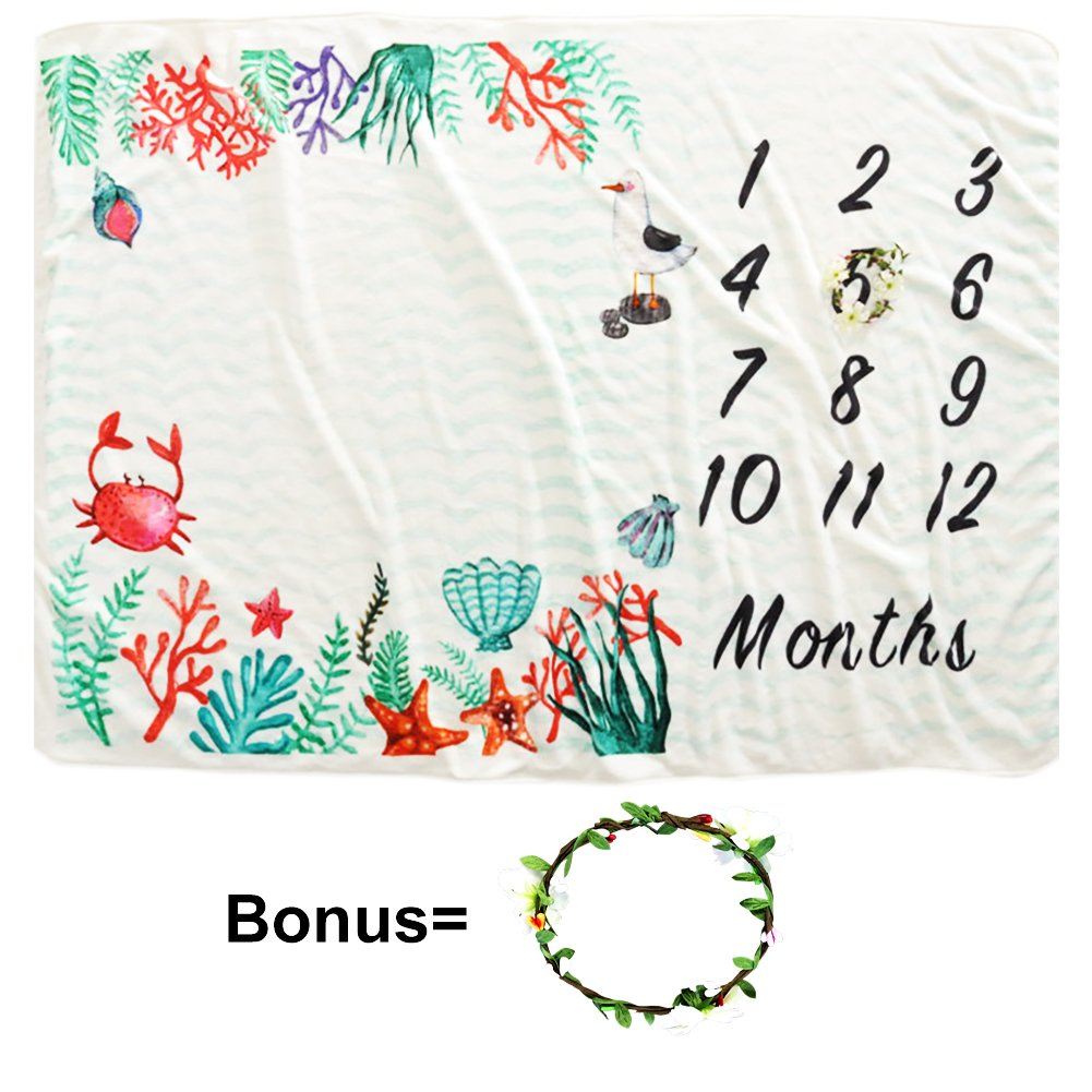 TMJJ 60x40 Soft Flannel Fleece Baby Monthly Milestone Blanket with Floral Wreath for Boys Girls Photo Prop Set