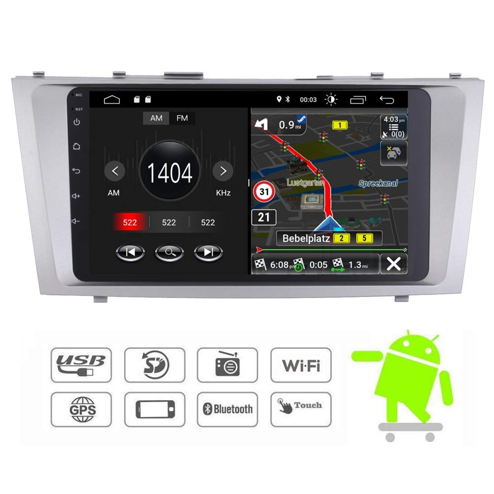 Car Stereo with Backup Camera in-Dash Car Radio Android 7.1 Touch Screen 9 IPS Display with WiFi Mirrorlink Bluetooth GPS Navigation for Toyota Camry 2007-2011