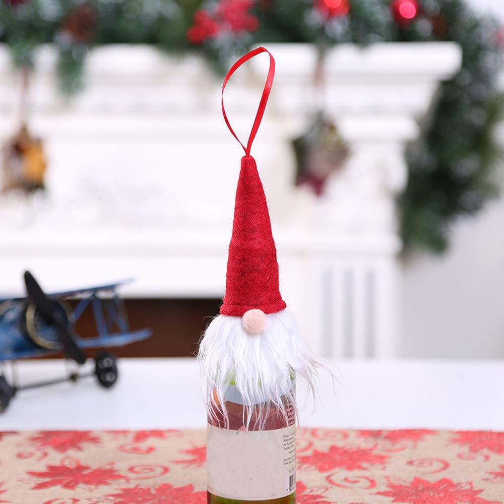 Christmas Tree Decorations, Jchen(TM) Happy Year Christmas Decor Christmas Wine Bottle Cap Cover Santa Decoration Xmas Bottle Cap Xmas Decor (Red) by Jchen Christmas Tree Decor (Image #2)