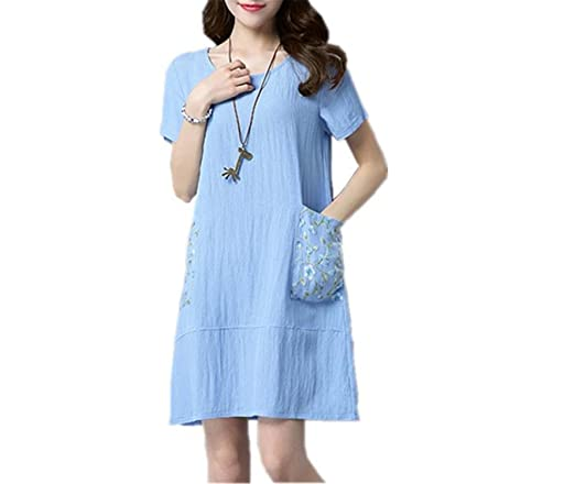 Amazon.com: CannerCA Fashion cotton linen vintage women casual loose summer dress vestidos femininos dresses: Clothing