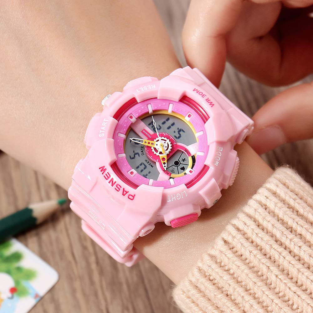 PASNEW Kids Watch Multi Function Digital-Analog Sport Watches for 7-Year Old or Above Children-Pink by PASNEW (Image #2)