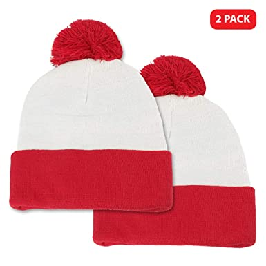 Amazon.com  Waldo Costume Red White Pom Pom Cuff Knit Beanie Hat (One Size 6e1a0ab4b