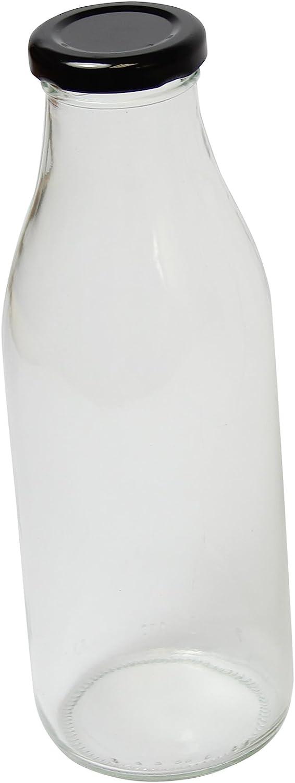 Botella de leche de cristal retro transparente (negro tapa incluida) 500ml