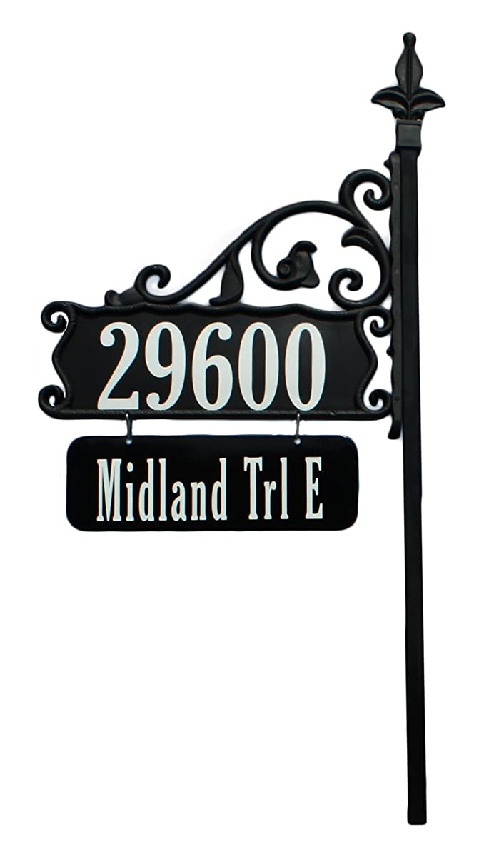 "Address America Yard Sign [Custom 4"" House Address Numbers plaque handcrafted 48"" Superb Home sign with holder and hanging street/family name plate [Highway-grade Reflective Vinyl,] Black"
