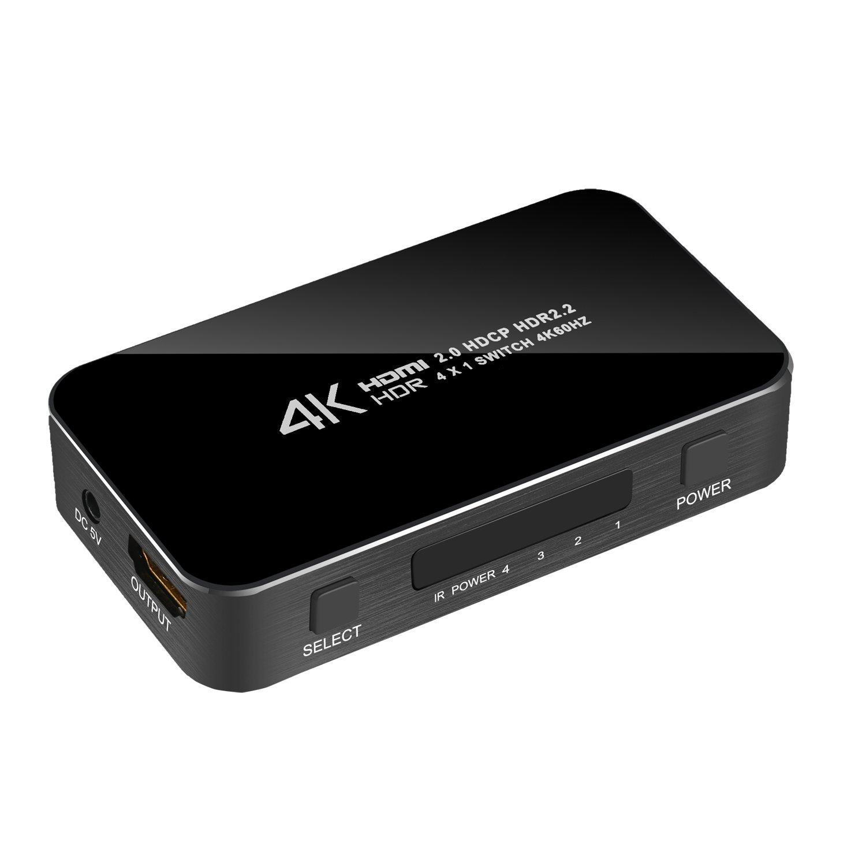 HDMI Switch 4 input 1 output, Atolla HDMI Port HDMI Switcher 4K HDMI Switch Box with IR Wireless Control and AC Power HDMI Adapter(4X1 B5)