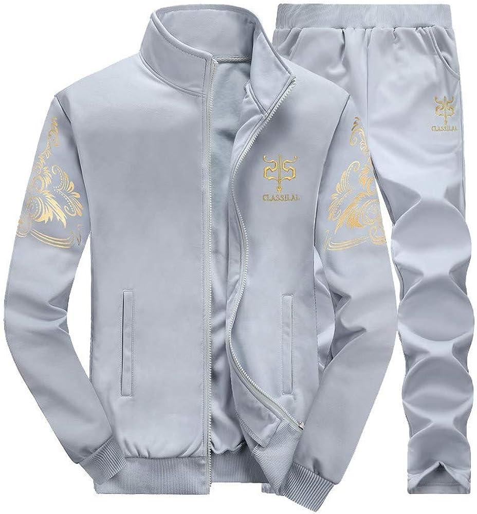 Color : Grau1, Size : M Upper Outer Garment Mens Autumn Winter Thicken Sweatshirt Top Pants Fashion Sets Sport Suit Fashion Tracksuit Wild Tight for Men