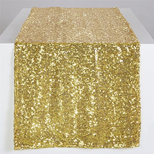 (Zdada Long Sequin Table Runner Gold Sheer Table Runner Shimmering Table Runner-)