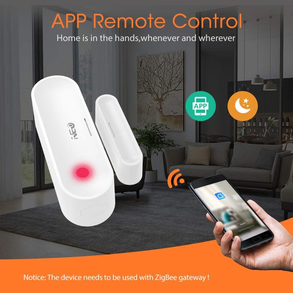 SmartLife//Tuya App Control Sensor de Alarma OWSOO Neo Sensor de Puerta y Ventana Inal/ámbrico ZigBee Interruptor Magn/ético Detectorde Puerta y Ventana