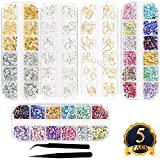SUBANG 5 Boxes Nail Art Rhinestones Kit Nail Rhinestones with 2 Piece Tweezers,Multicolor Nail Studs Horse Eye Rhinestones For Nail Art Decorations Supplies