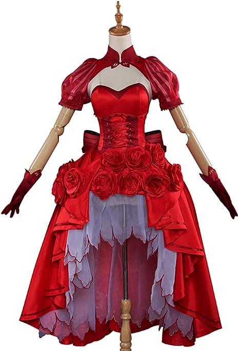 LJLis Fate FGO Cosplay De Anime Saber Rosa Vestido Rojo Disfraz De ...