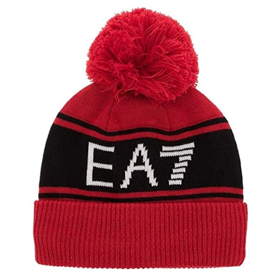 36b9aed4779 Emporio Armani EA7 Red Bobble Beanie Hat 275813 8A306  Amazon.co.uk   Clothing