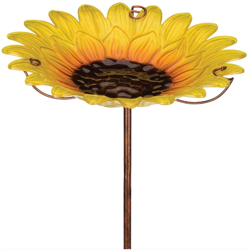Regal Art & Gift 12 Inches x 12 Inches x 25 Inches Birdbath Feeder Garden Stake Sunflower