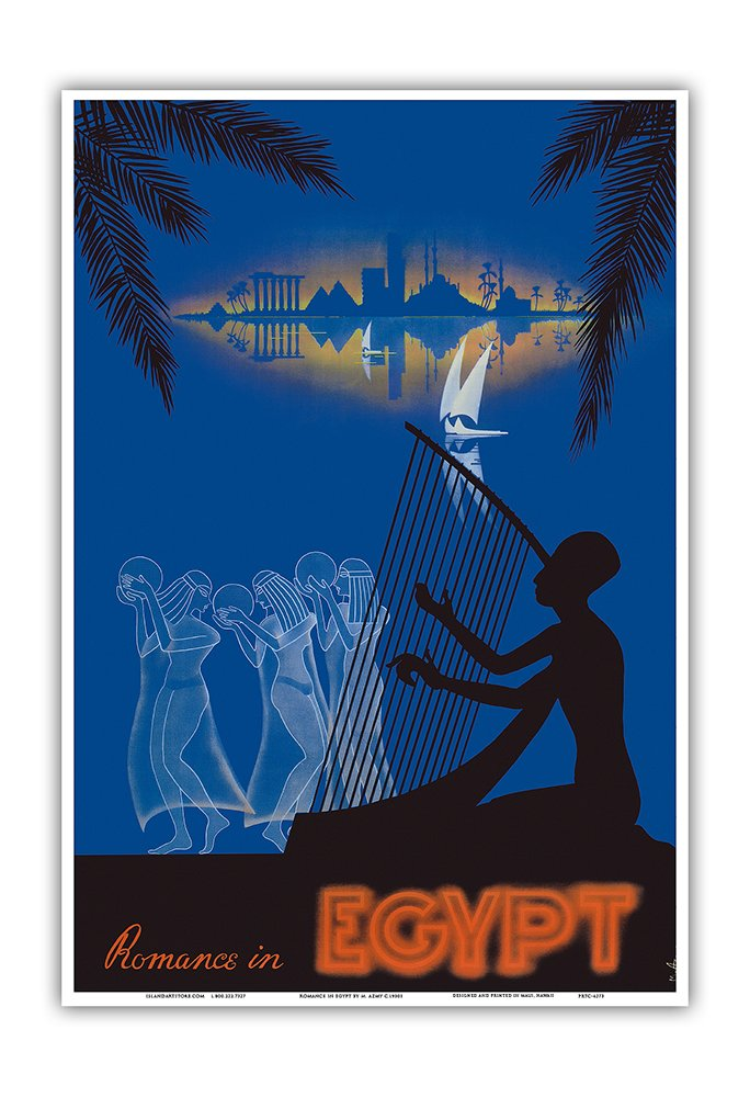 Azmy c.1930s Dancing Girls Master Art Print Ancient Egyptian Harp Player Romance in Egypt 13in x 19in Vintage World Travel Poster by M Love on The Nile River