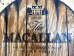 The Macallan Personalized decorative Sign - whiskey barrel top | Hand painted artwork and your additional message on a carved, distressed wood sign | Rustic wall decor