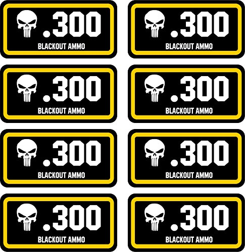 .300 Blackout Ammo Can Stickers | Punisher | 8-Pack Ammo Can Decals Bullet Sticker 3 x 1