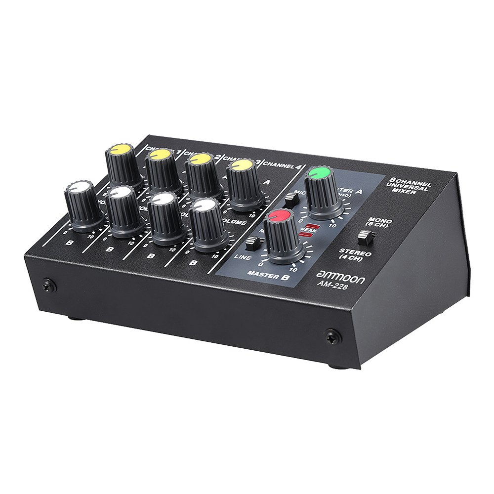 ammoon AM-228 Ultra-compact Low Noise 8 Channels Metal Mono Stereo Audio Sound Mixer with Power Adapter Cable 4334205953