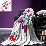 smallbeefly Teen Room Decor Weave Pattern Extra Long Blanket Soccer Player Kicks the Ball Watercolor Style Spray Championship Image Custom Design Cozy Flannel Blanket Multicolor