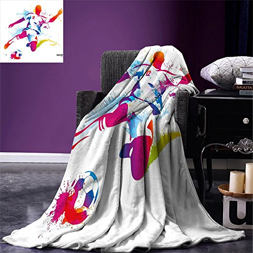 smallbeefly Teen Room Decor Weave Pattern Extra Long Blanket Soccer Player Kicks the Ball Watercolor Style Spray Championship Image Custom Design Cozy Flannel Blanket Multicolor by smallbeefly