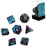 Chessex CHX26449 Dice, Gemini Purple-Teal/Gold, One Size, Purple/Teal/Gold