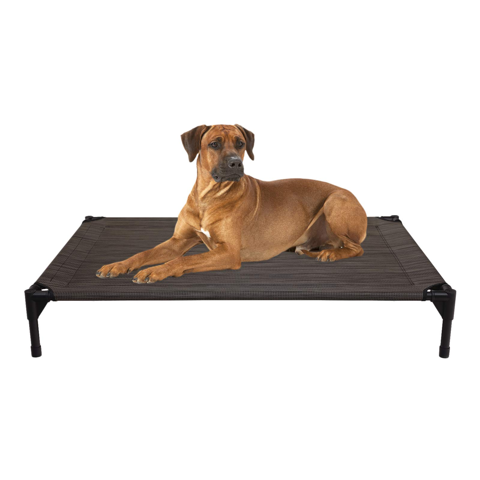 Veehoo Cooling Elevated Dog Bed - Portable Raised Pet Cot with Washable & Breathable Mesh, No-Slip Rubber Feet for Indoor & Outdoor Use, Oversize Package, Large | Brown