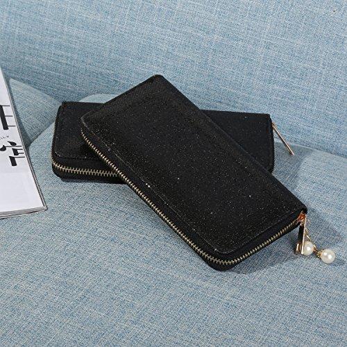 Shiny For Women Wallet Girls Bling Purse Teen Glitter Black with Design Zipper Clutch wAvqxtZA
