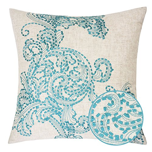 Homey Cozy Embroidered Linen Throw Pillow Cover, Amesbury Tan and Teal Floral Decorative Square Couch Cushion Pillow Case 20 x 20 Inch, Cover Only (Tan Decorative Throw)