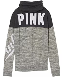 Victorias Secret Pink Sweater Cowl Pullover White Green Large