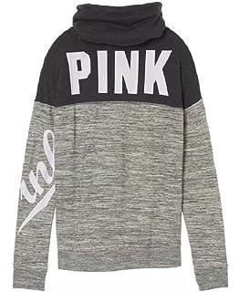 Victoria s Secret PINK High Cowl Neck Colorblock Pullover sweatshirt Gray  Marl d43152a35a