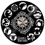 Game of Thrones Theme Creative Black Vinyl Record Clock For Sale