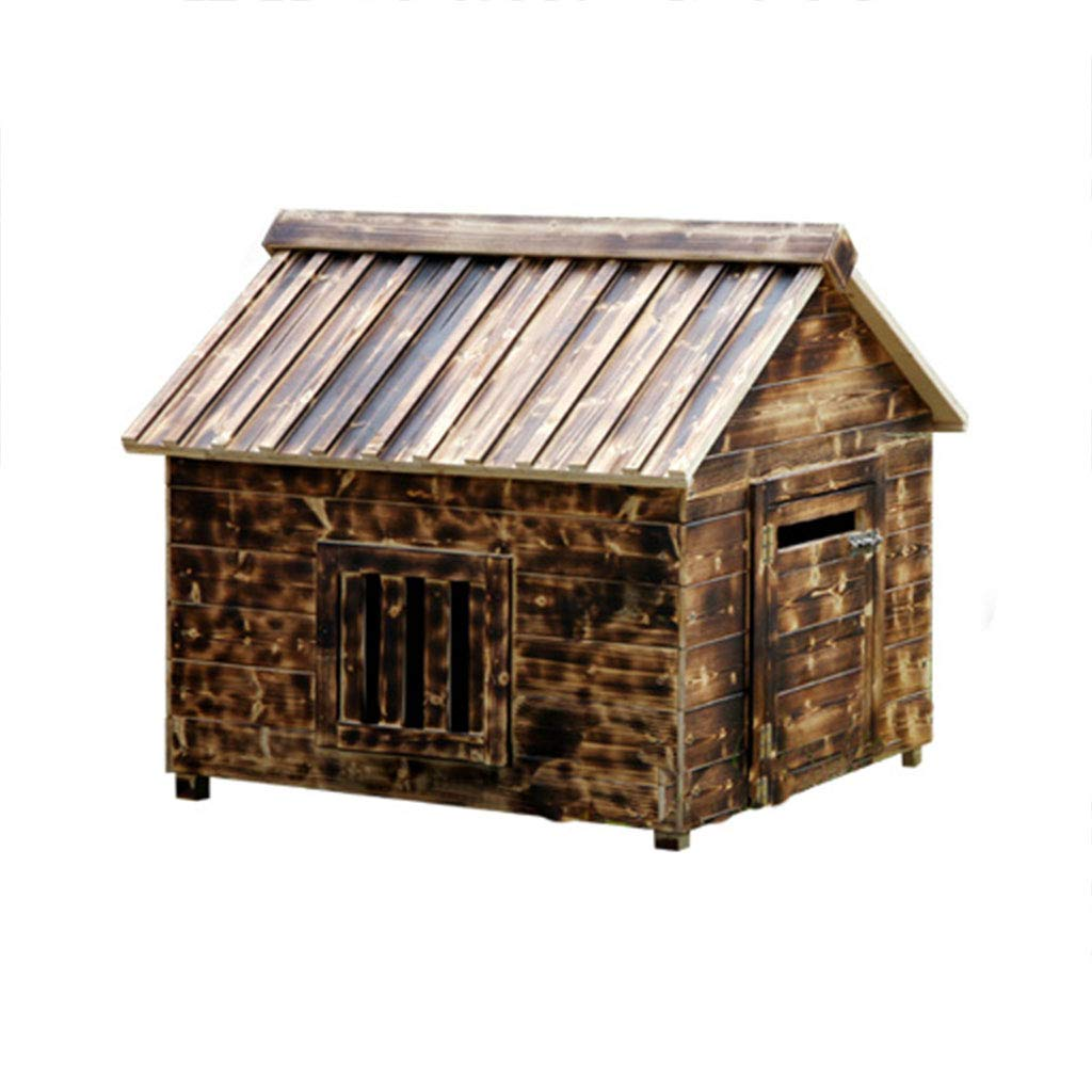 545156cm YANQ Solid Wood Charcoal Wood Outdoor Large And Medium-sized Dog House Wooden Kennel Dog House Rainproof Anti-corrosion (Size   54  51  56cm)