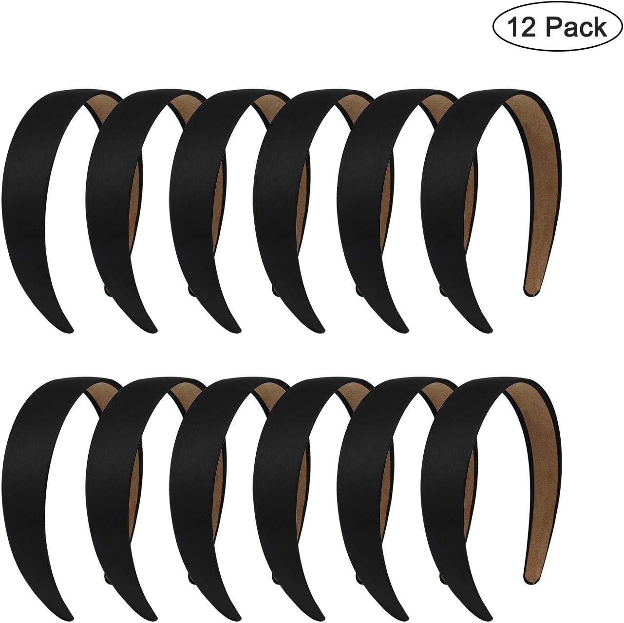 Diadema de Pelo de Satín Negra Banda de Pelo sin Dientes 1.2inch DIY Diadema Plano para Niñas y Mujeres 12 Piezas