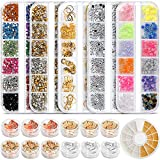 Teenitor Professional Nail Kit with 6 boxes Nail Art Rhinestones& 1 box nail foil chip, Multi-size Gems Metal Nail Rivets Studs Double-sided Color Nail Art Foil Pailette Chip Foil flak