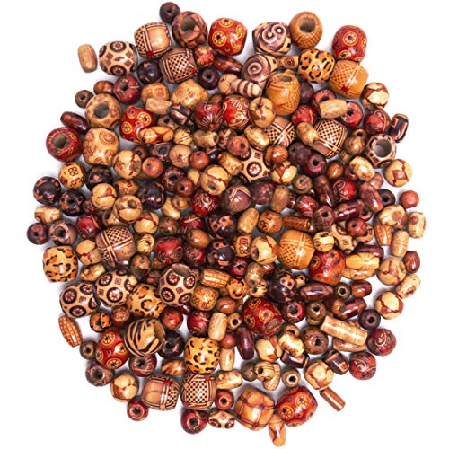 - 500 Wooden Beads for Jewelry Making Adults, Painted Assorted African Wood Beads, Macrame Supplies Beads, Craft Jewelry Beads for Bracelets & Necklace Projects (Large & Small Round Barrel Tubular)