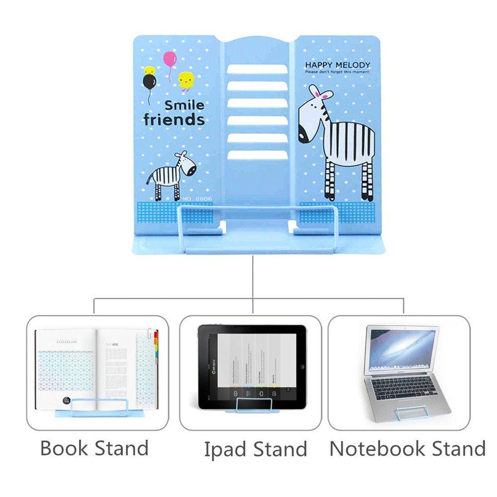 Reading Bookstand Book Holder, Kicpot Adjustable and Portable Reading Book Stand Document Holder (Iron Blue) by Kicpot (Image #3)