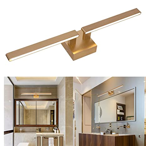 22W Bathroom Vanity Lights Satin Brass,2700K 1500LM Warm White Linear LED  Vanity Mirror Light Makeup Light Picture Lighting Wall Sconce for Bathroom  ...