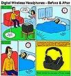Digital Wireless Over-Ear Headphones for TV,Artiste 2.4GHz UHF/RF for TV Listening,Rechargeable 20 Hour Battery and Headphones Charging Dock-Black…
