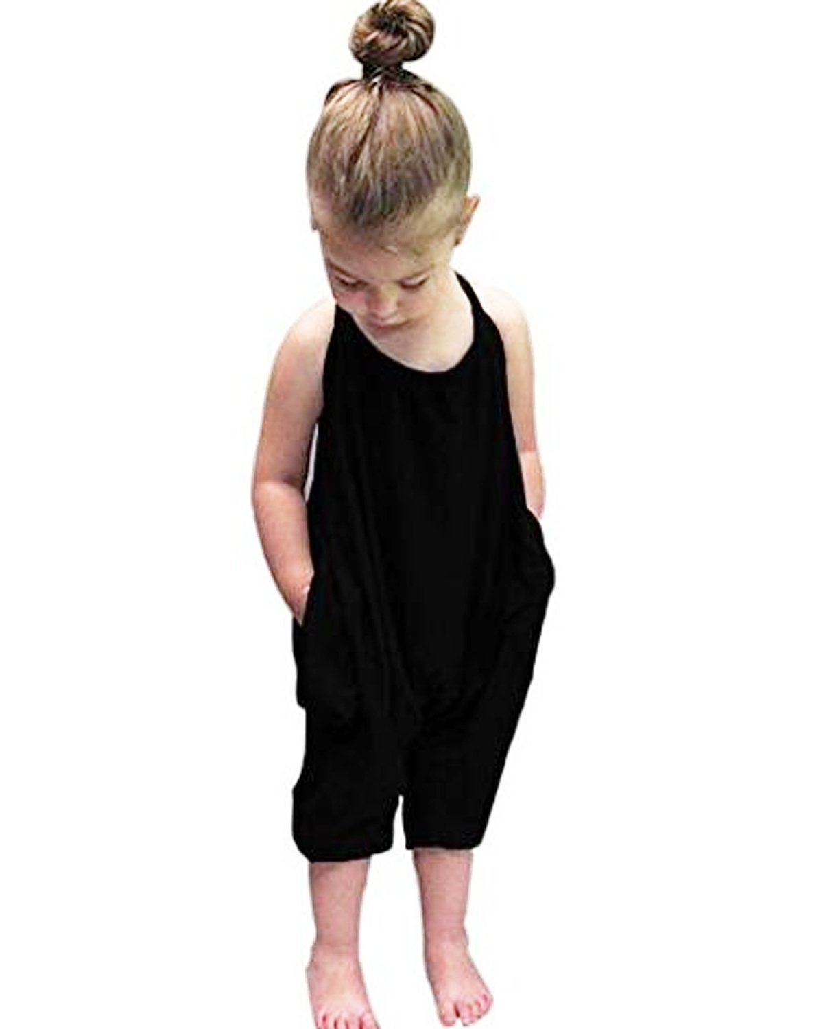 Kidsform Baby Girls Straps Rompers Cotton Halter Toddler Jumpsuit Playsuit Harem Pants One-Piece For Kids 6M-6T Black 2-3 Years