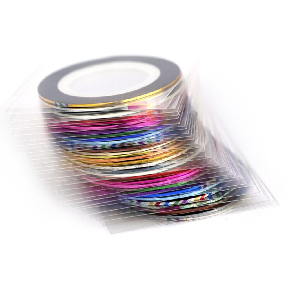 Demarkt 10 pcs Mixed Colors Nail Tape Strips Tape Narrow Line Striping Tape for Nail Art Decoration Nail Art Tips Decoration Sticker DIY Kit