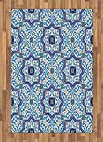 Moroccan Area Rug by Lunarable, Moroccan Portuguese Style Classic Tiles Ornaments Islamic Historical Buildings Art, Flat Woven Accent Rug for Living Room Bedroom Dining Room, 4 x 6 FT, Blue White