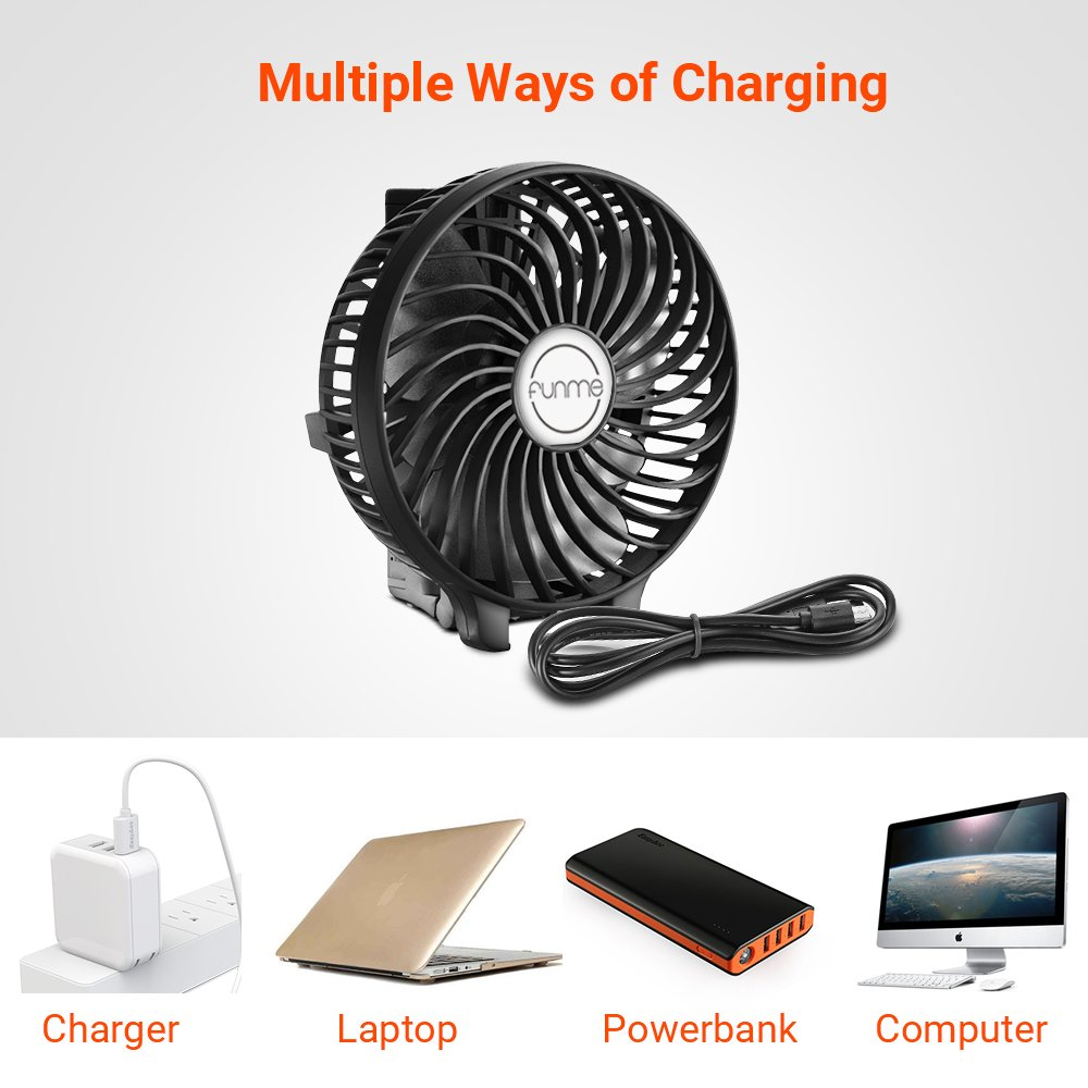 Funme Mini Handheld Fan Portable Foldable USB Rechargeable LG 2600mAh Battery Operated Electric Fan Personal Desktop Cooling Fan with 3 Speed for Office/Home / Travel/Outdoor-Black by Funme (Image #4)