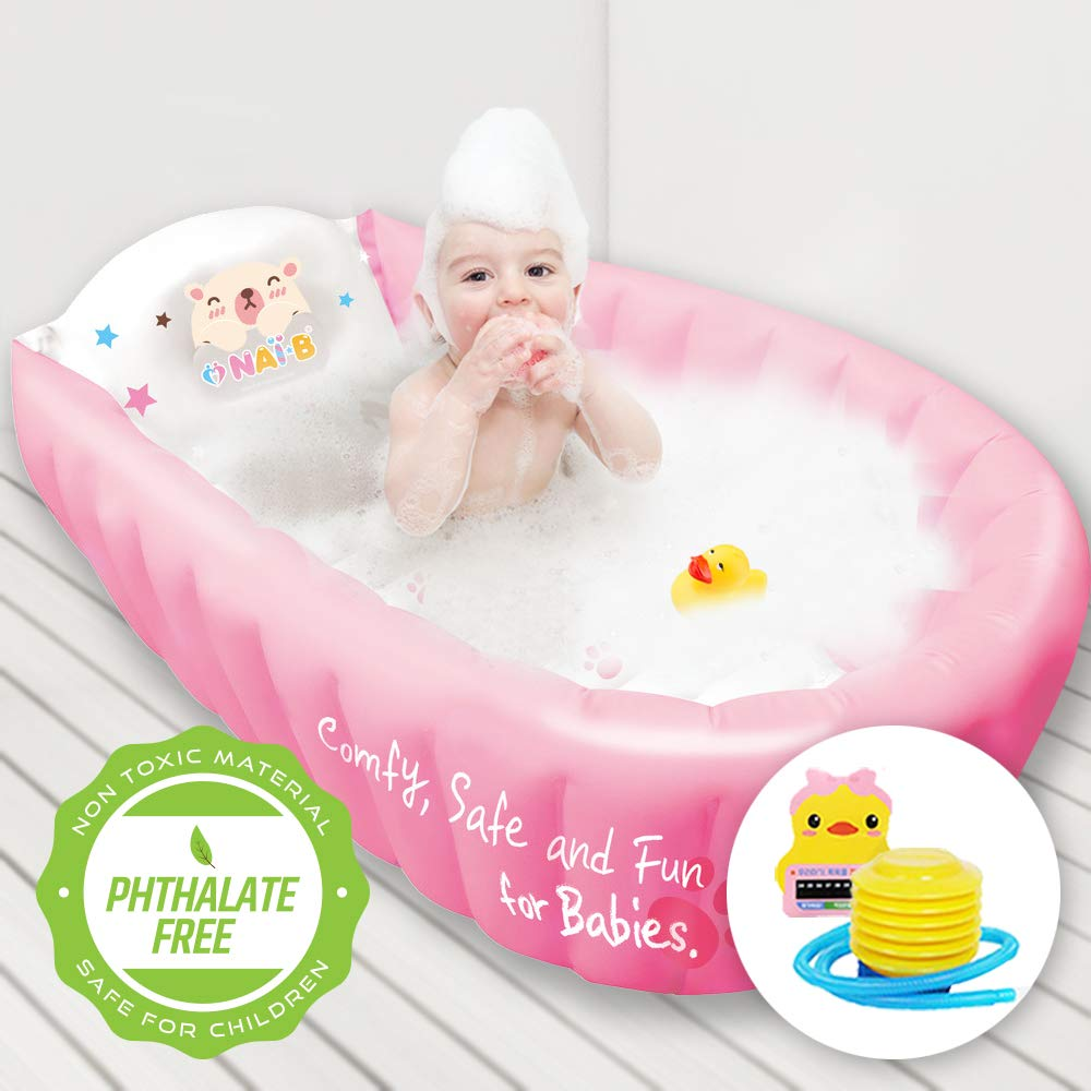 Nai-B Hamster Inflatable Baby Bathtub. Comfortable and Enjoyable Bath Time with Attached Cute Thermometer for Kids & Infants. Portable, Foldable, and Anti-Slippery Safety Children Shower Basin. [Pink]