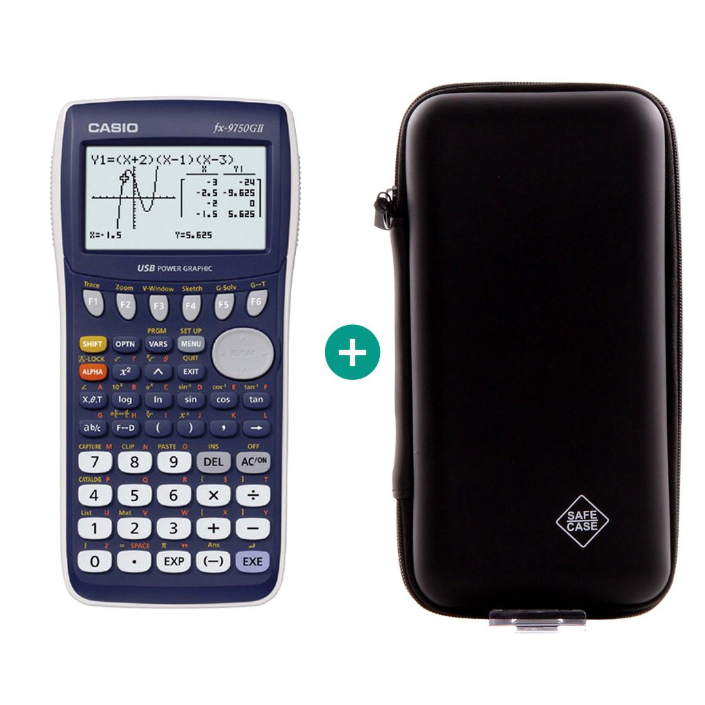 Calcolatrice Casio FX 9750 GII - Bundle Sets + Erweiterte Garantie + Schutztasche Calcuso