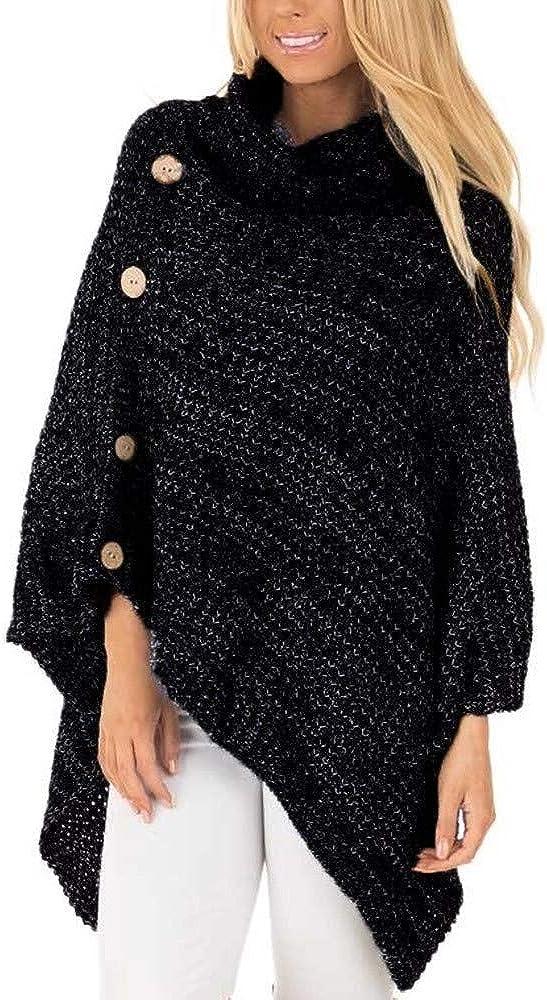 KYLEON Women Sweater Stripes Poncho Fall Tassels Slash Shawl Hem Fringe Loose Tops Oversized Turtleneck Knit Cape Pullover