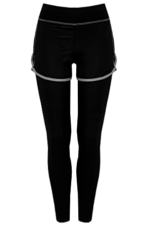 Leggings Damen Mit 2 Sporthose Funktionstights In1 Shorts Bongual xFwP1qnq
