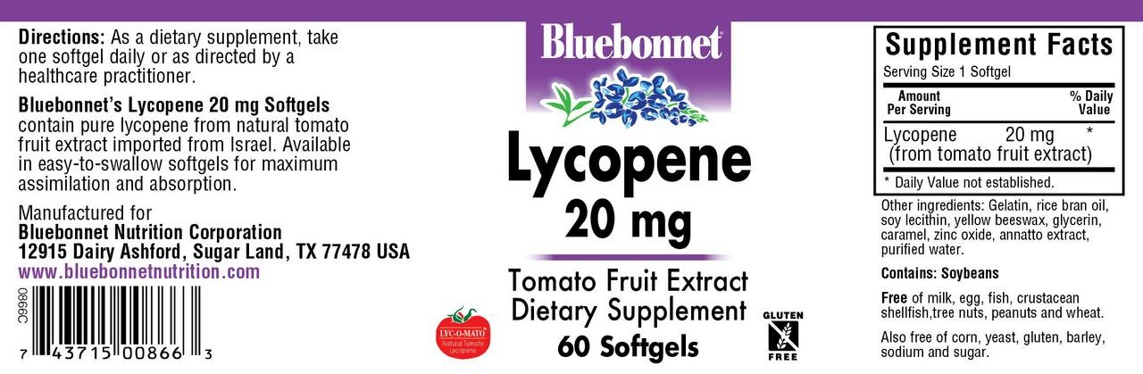 BLUEBONNET NUTRITION LYCOPENE 20 mg by Bluebonnet