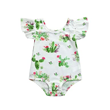 ShiTou Sleeveless Floral Printing Party Outfits Summer Infant Cactus Romper (White, 90)
