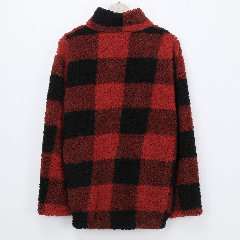 Womens Plaid Print Plush Pullovers Pocket Zipper Top Blouse Sweatshirt