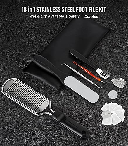 Wskderliner Foot File Callus Remover, 18 in 1 Pedicure File Pedicure Foot File for Removing Feet Hard Skin Dead Skin Calluses, can be used on both Wet and Dry Feet, Stainless Steel Foot Care Kit