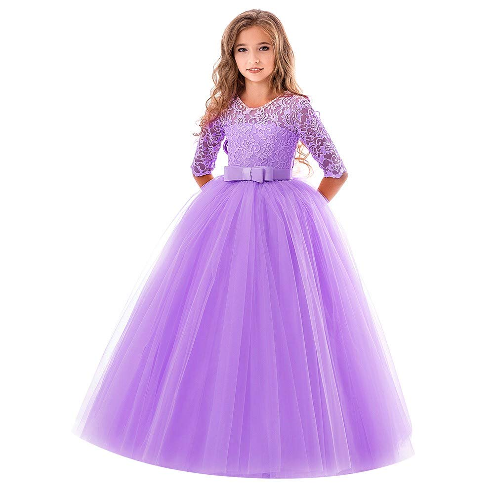 Little Big Girls Dresses Tutu Tulle Illusion Sleeves Bow Tie Back Princess Pageant Skirt Outfit Clothes 4-9 Years (7-8 Years, Purple) by Yihaojia Girls Dress
