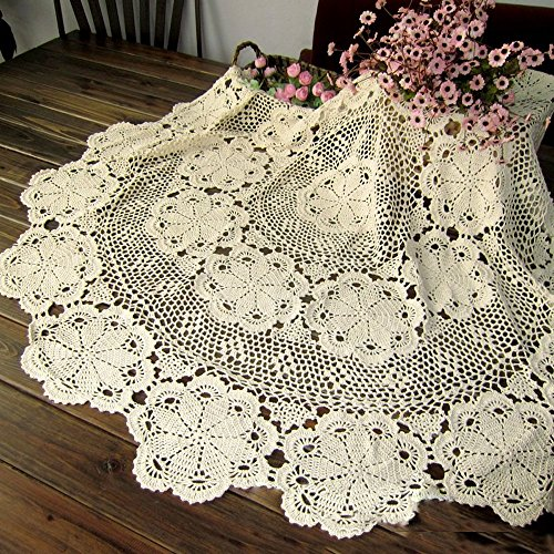 TideTex Simple Cotton Lace Weave Tablecloths Handmade Crochet Flower Design Hollow Out Rural Style Table Covers Doilies Coffee Table Round Table Cloth Decoration (36-Inch Round, Beige)